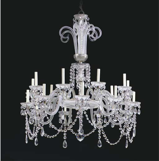 A VICTORIAN CUT-GLASS AND SILVERED-METAL EIGHTEEN-LIGHT CHANDELIER