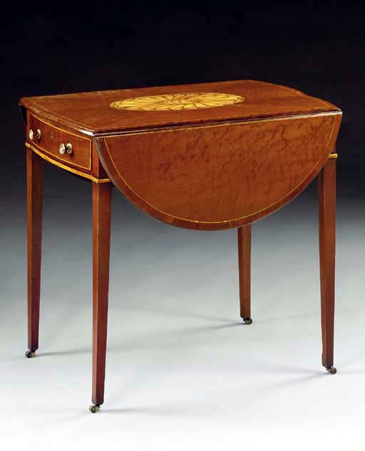 A GEORGE III INLAID-PLUM-PUDDI