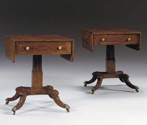 A PAIR OF REGENCY STYLE BRASS-INLAID ROSEWOOD AND SIMULATED ROSEWOOD PEDESTAL SOFA TABLES