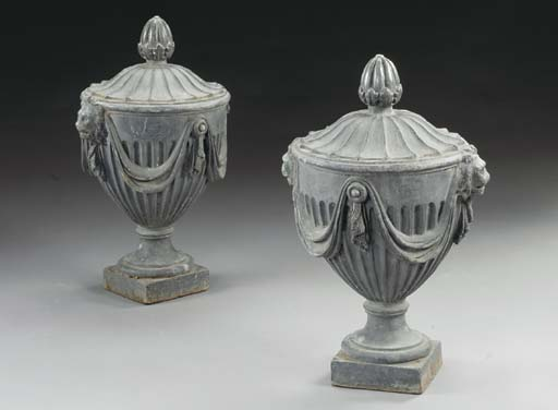 A PAIR OF VICTORIAN LEAD GARDE