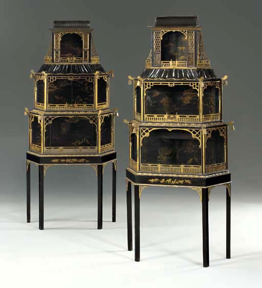 A PAIR OF GEORGE II STYLE CHINESE LACQUER AND BLACK AND GILT-JAPANNED DISPLAY CABINETS