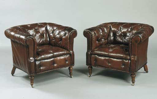 A PAIR OF VICTORIAN LEATHER-UP