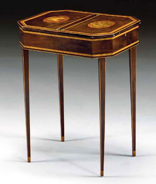 A GEORGE III STAINED SYCAMORE, FRUITWOOD AND TRANSFER-PRINTED LADY'S WORK TABLE