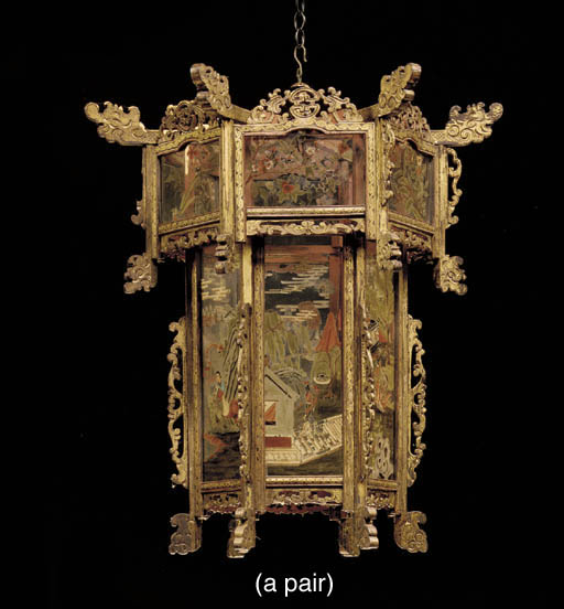 A PAIR OF CHINESE POLYCHROME AND PARCEL-GILT LANTERNS