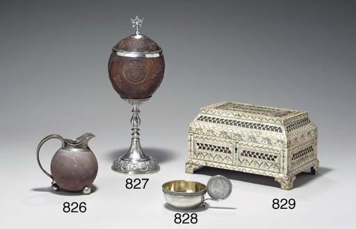 A SILVER-MOUNTED COCONUT CUP