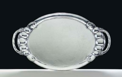 A DANISH SILVER TEA TRAY