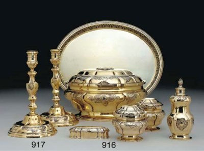 A PAIR OF DANISH SILVER-GILT C