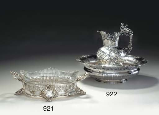 A GERMAN SILVER AND CUT-GLASS