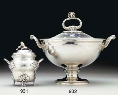 A FRENCH SILVER SUGAR BOWL AND