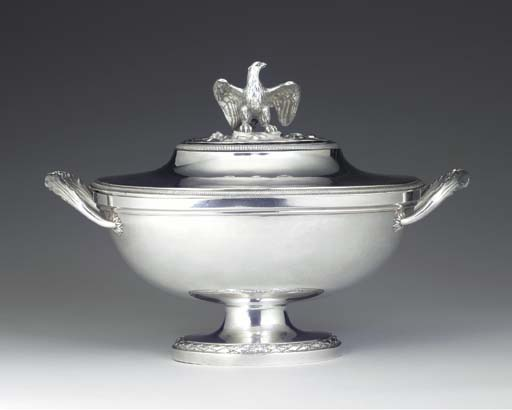 A FRENCH SILVER SOUP TUREEN AN