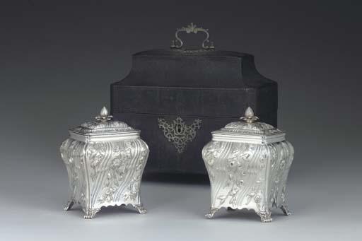TWO GEORGE III SILVER TEA CADD