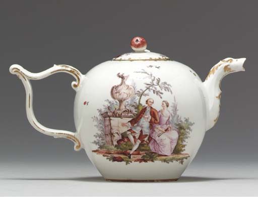 A FRANKENTHAL TEAPOT AND COVER
