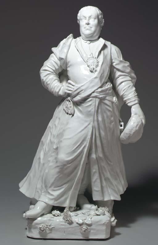 A GERMAN WHITE PORTRAIT FIGURE OF FRIEDRICH AUGUSTUS III