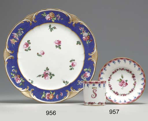 A SEVRES INITIALED CUP AND SAU