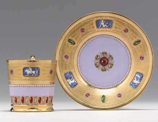 A SEVRES 'JEWELLED' GOLD AND P