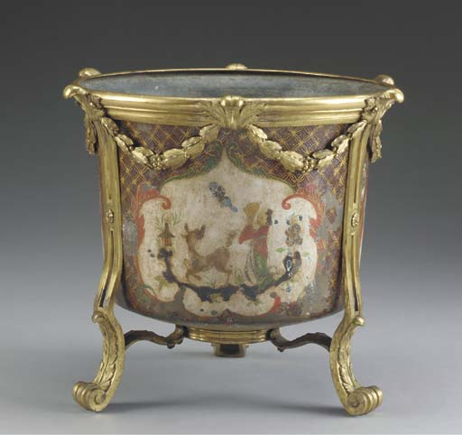 A FRENCH ORMOLU-MOUNTED PAINTE