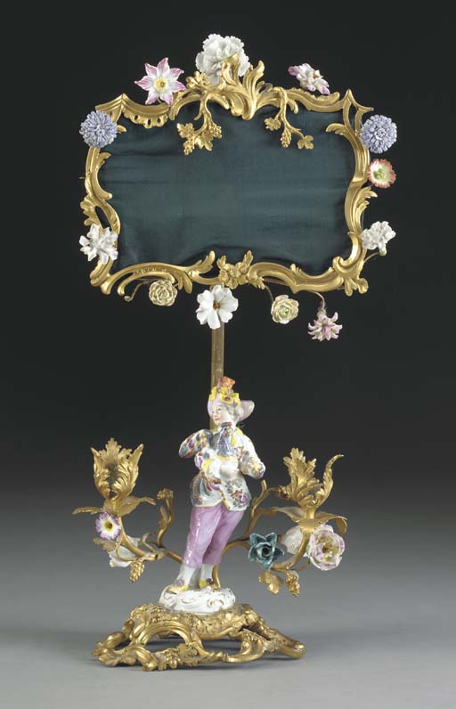 A FRENCH ORMOLU AND MEISSEN PO