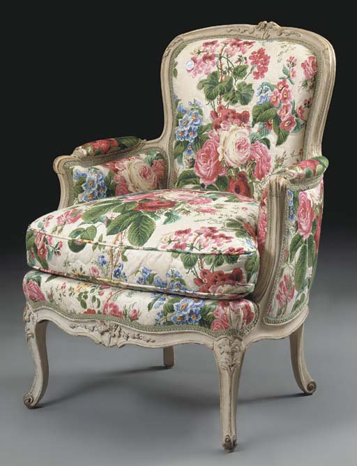 A LOUIS XV CREAM-PAINTED BERGE