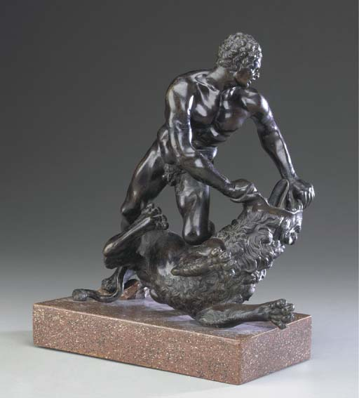 A BRONZE GROUP OF HERCULES AND