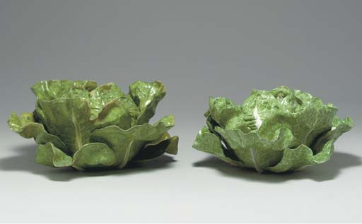 TWO FRENCH FAIENCE CABBAGE TUR