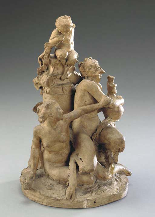 A FRENCH TERRACOTTA GROUP OF S