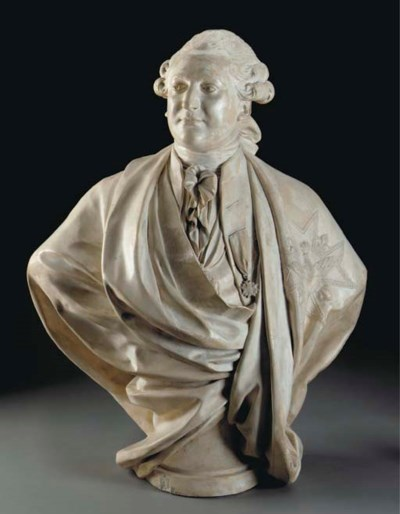 A FRENCH PLASTER BUST OF LOUIS
