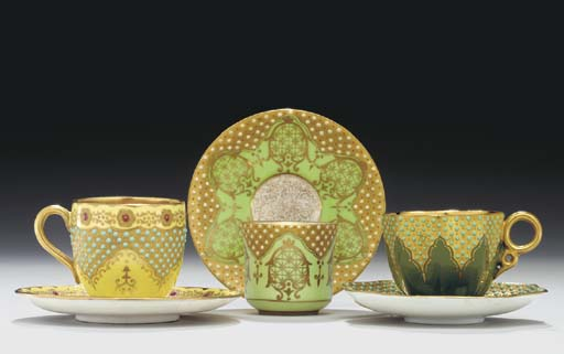 THREE COALPORT 'JEWELLED' GOLD