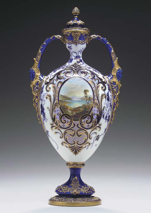 A ROYAL WORCESTER BLUE-GROUND