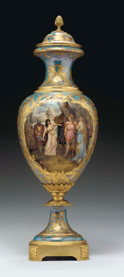 A SEVRES STYLE IRIDESCENT-BLUE