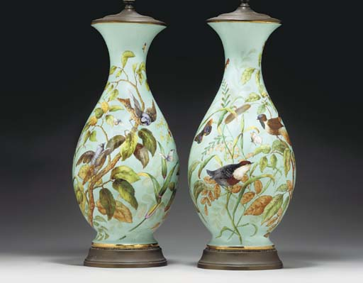 A PAIR OF PALE-BLUE BALUSTER V