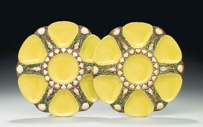 TWO MINTONS MAJOLICA YELLOW-GR