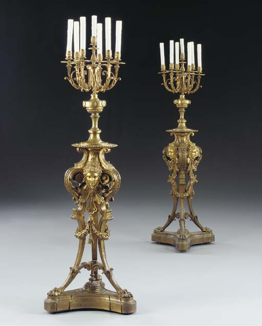 A pair of Baroque style ormolu