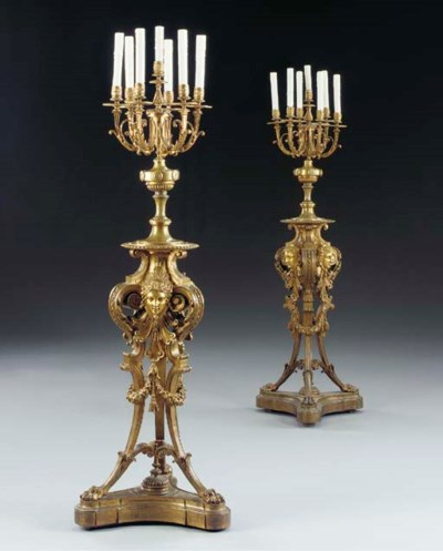 A pair of Baroque style ormolu