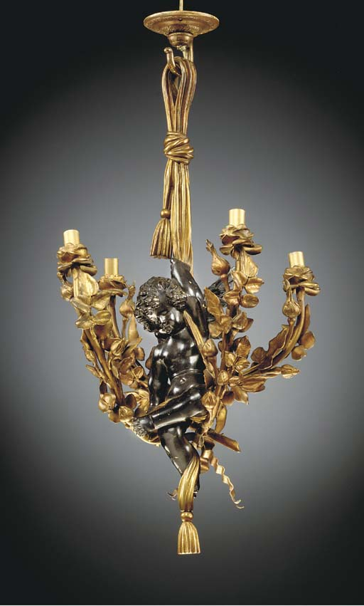 A French ormolu and patinated