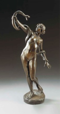 A German bronze patinated spel