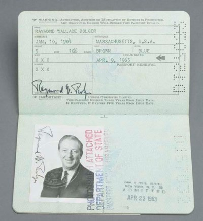 RAY BOLGER PASSPORT