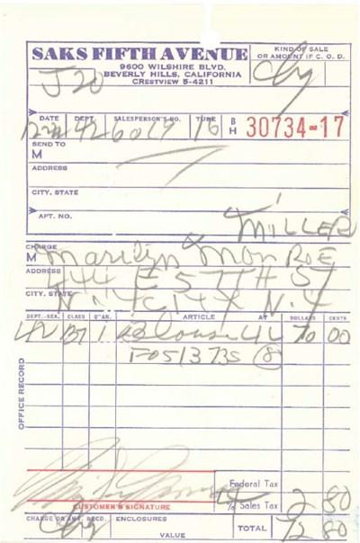 MARILYN MONROE SIGNED RECEIPT