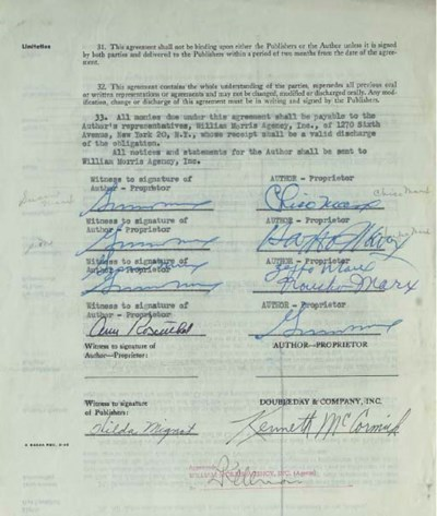 MARX BROTHERS SIGNED CONTRACT
