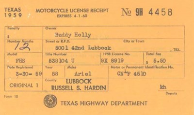 BUDDY HOLLY MOTORCYCLE LICENSE