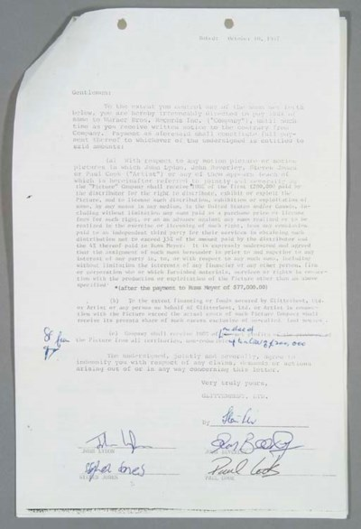 SEX PISTOLS SIGNED CONTRACT