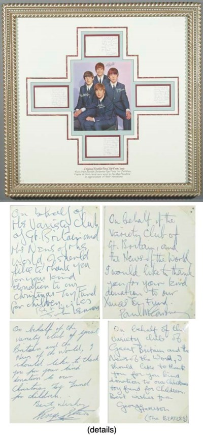 BEATLES HANDWRITTEN POSTCARDS