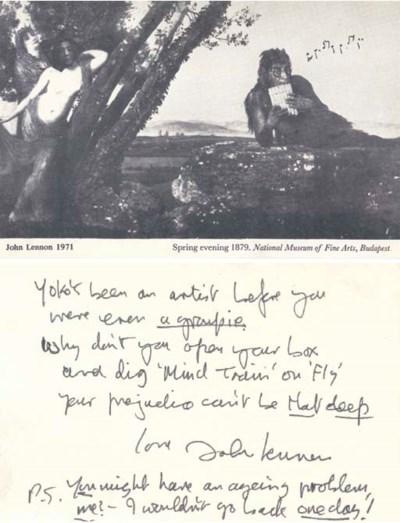 JOHN LENNON WRITTEN AND SIGNED