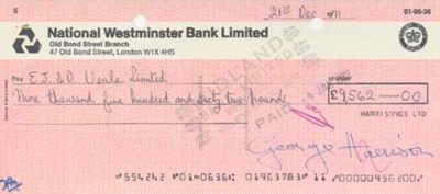 GEORGE HARRISON SIGNED CHECK