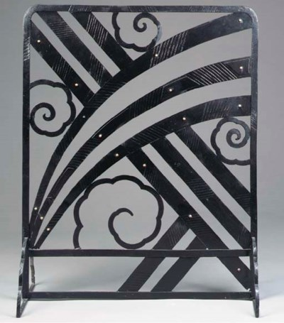 AN ART DECO BLACK-PAINTED WROU