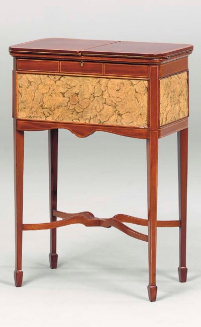 AN EDWARDIAN SEWING TABLE,