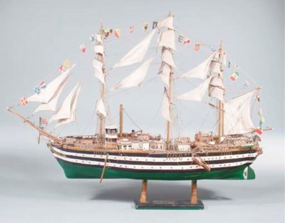 A PAINTED SHIP MODEL,