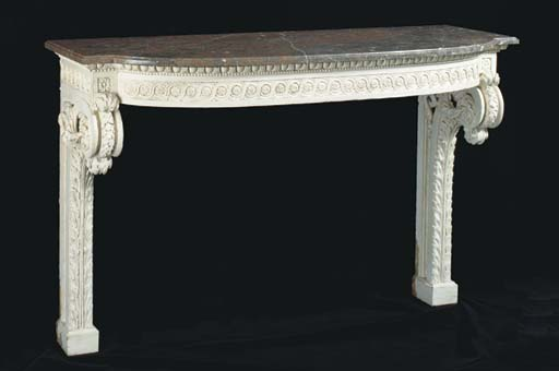 A LOUIS XVI STYLE WHITE-PAINTED CONSOLE TABLE WITH MAUVE AND GREY VEINED MARBLE TOP,