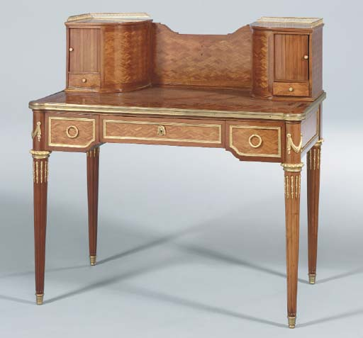 A LOUIS XVI ORMOLU-MOUNTED MAHOGANY AND PARQUETRY BONHEUR DU JOUR,