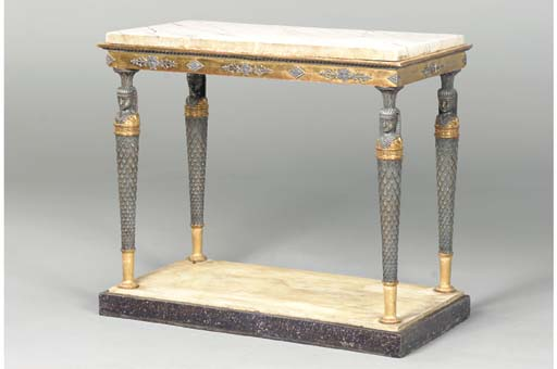 A SWEDISH GILTWOOD AND BRONZED CONSOLE TABLE,