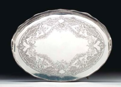 A VICTORIAN SILVER TRAY,